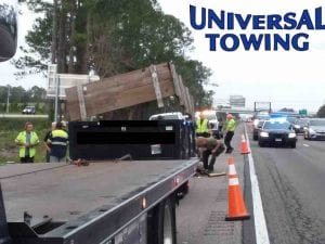 Heavy Truck Towing of Dumpster Truck on I-95